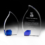 "The Blue Crystal Flame Award is available in two sizes. 7 3/4""Height and 9 3/4""Height"