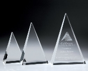 "Crystal Triangle Plaque Award, Available In 3 Sizes: 6""H 8""H 10""H"