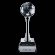 "Crystal Globe Trophy is Available In 3 Sizes: 8""H 10""H 12""H"