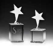 "The Crystal Basic Star Award is available in two sizes. 7""Height and 8 1/4""Height"