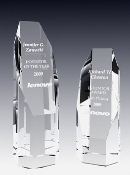 "Crystal Octagon Tower Award Available In 3 Sizes: 6""H, 7""H, 8""H"