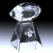 "Crystal Football Trophy, Size 6 1/2""H"
