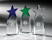 "The Crystal Basic Star Award is available in 3 colors: Clear, Blue, and Green. Size: 9""Height"