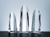 "Super Hexagon Tower Crystal Award comes in 3 different sizes. 8 1/2""H, 10""H and 11 1/2""H"