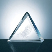 "Crystal Triangle Plaque, Available In 3 Sizes: 5""H, 6""H, 7""H"