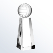"Crystal Championship Volleyball Trophy is available in three different sizes. 6"" Height, 7"" Height, and 8"" Height."