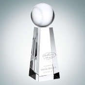"Crystal Championship Baseball Trophy is available in three different sizes. 6"" Height, 7"" Height, and 8"" Height."