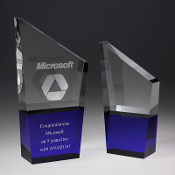 "The K2 Crystal Award is available in two sizes. 8""Height and 10""Height"