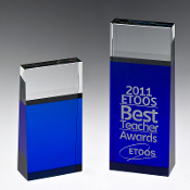 "The Crystal Blue Block Tower Award is available in two sizes. 6""Height and 8""Height"