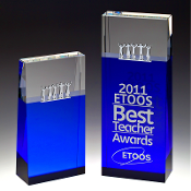 "The Together - Crystal Blue Block Tower Award is available in two sizes. 6""Height and 8""Height"