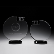 "The Crystal Inner Circle Plaque is available in two sizes. 6 3/4""Height and 8""Height"