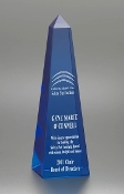 Commemorate excellence in your organization with the unparalleled prestige of the Blue Crystal Obelisk Award.