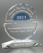 "Crystal Tempus Award is available in 3 different sizes. 6""H, 7 1/2""H, and 9""H"