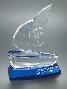 "The Crystal Tranquility Sailboat Award is available in two sizes. 7 1/2""Height and 9 1/4""Height"