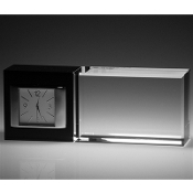 "Best Wishes Crystal Clock - Horizontal - Size 6 1/2""W"