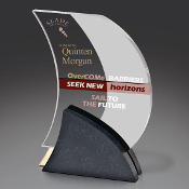 "Bigheadawards.net is proud to offer the Textured Black with Clear and Gold Acrylic Award with Free Engraving and No Setup Fees. Size: 7 1/2""H,"