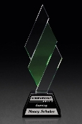 "Optical Crystal with Green Crystal Accent And Black Crystal Base, Size: 10""H - Bigheadawards.net"