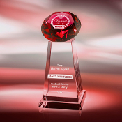 Diamond Spire Crystal Award - Available in 5 different colors: Red, Amber, Blue, Green, and clear