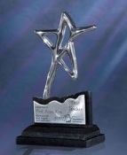 "The Stainless Aries Award comes in three sizes. 8""Height, 8 1/2""Height, and 10 1/2""Height"