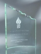 "Jade Glass Clip Award - Rope Edge, Sizes: 8""H 9 1/2""H 11""H"