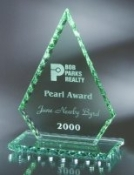 "Jade Glass Conquest Award - Pearl Edge, Sizes: 7 1/4""H 8 1/4""H 9 1/4""H"