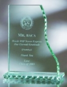 "Jade Glass Vertical Wave Award - Pearl Edge, Sizes: 7 1/2""H 8 1/2""H 10 1/2""H"