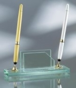 "Jade Glass Double Pen Set with Business Card Holder - 2 1/2""H x 7""W x 2""D"