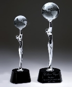 "The Crystal Global Celebration Award is Available in two sizes. 12""Height and 14""Height"
