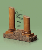 "Eco-Friendly Recycled Wood / Jade Glass Award, Sizes: 10 1/2""W"