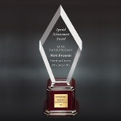 "The AC-A869 Acrylic Zenith Award is mounted on a rosewood base. Available in 3 colors: Clear, Jade and Blue. Each color comes in 3 sizes: 12""H, 14""H, 16""H"