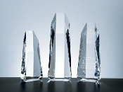 "Crystal Hexagon Tower Award comes in 3 different sizes. 5""H, 7 1/2""H and 10""H"