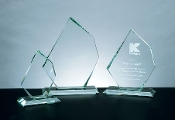 "Jade Crystal Awards, Jade Glass Distinct Summit Award, Available In 3 Sizes: 7 1/8""H, 9 1/8""H, 11 1/8""H - Bigheadawards.net"