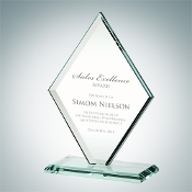 "Jade Crystal Awards, Jade Glass Beveled Diamond Award, Available In 3 Sizes: 7 3/4""H, 9 1/4""H, 10 1/2""H - Bigheadawards.net"
