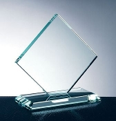 "Jade Crystal Awards, Jade Glass Square Diamond Award, Available In 3 Sizes: 5 1/2""H, 6 1/2""H, 8""H - Bigheadawards.net"