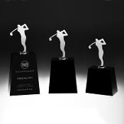 "Crystal Super Golfer Award is Available In 3 Sizes: 7 3/8""H, 8 1/4""H, 9 9 3/8""H"