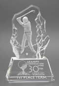 "Crystal Golf Awards and Trophies is available in three different sizes. 6"" Height, 7 3/4"" Height."