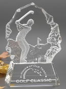 "Crystal Fincastle Golf Awards and Trophies is available in two different sizes. 7"" Height, 8 1/4"" Height."