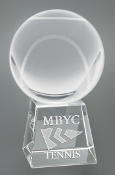 "Crystal Tennis Ball on Base Trophy is available in 5"" Height"