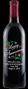 Anniversary Flowers Personalized Etched Wine Bottle