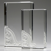 "Crystal Corinthian Block Award is available in 7 1/4""Height and 9""Height"