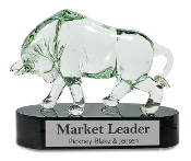 "The Bull ARt Glass Award is available in 8 1/4""Height"
