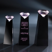 "The Pink Diamond Solitaire Award is available in 8""H, 9""H, and 10""H"